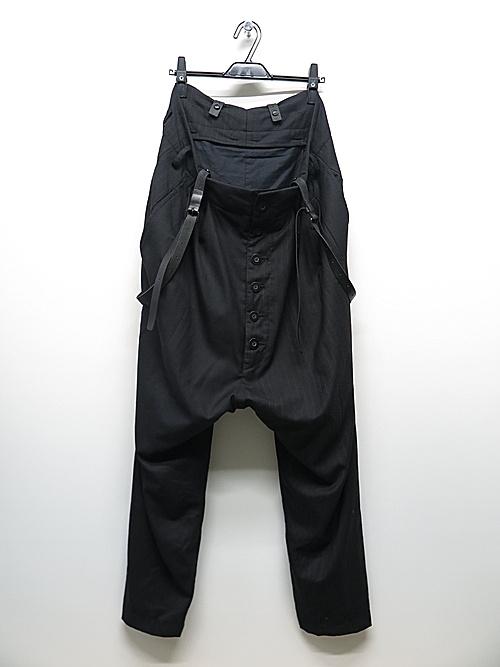 (予約品)7〜8月入荷予定/nude:masahiko maruyama ・ヌード:マサヒコマルヤマ/Patched Drop-Crotch 2 Tucks Pants w/Suspenders/BLK