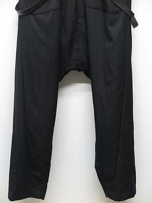 nude:masahiko maruyama ・ヌード:マサヒコマルヤマ/Patched Drop-Crotch 2 Tucks Pants w/Suspenders/BLK