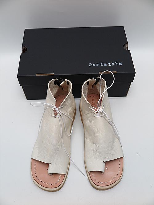 (予約品)3〜4月入荷予定/Portaille・ポルタユ/oiled vachetta Boots sandals/WHT