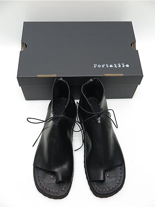 (予約品)3〜4月入荷予定/Portaille・ポルタユ/oiled vachetta Boots sandals/BLK
