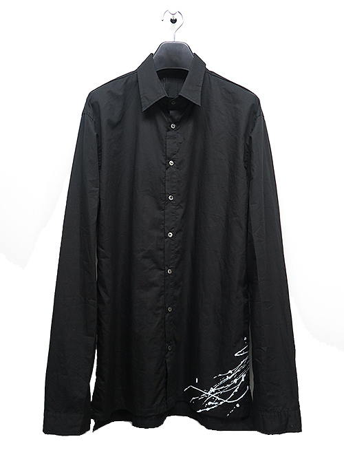 KMRii・ケムリ/Splash Cotton Shirt/BLACK