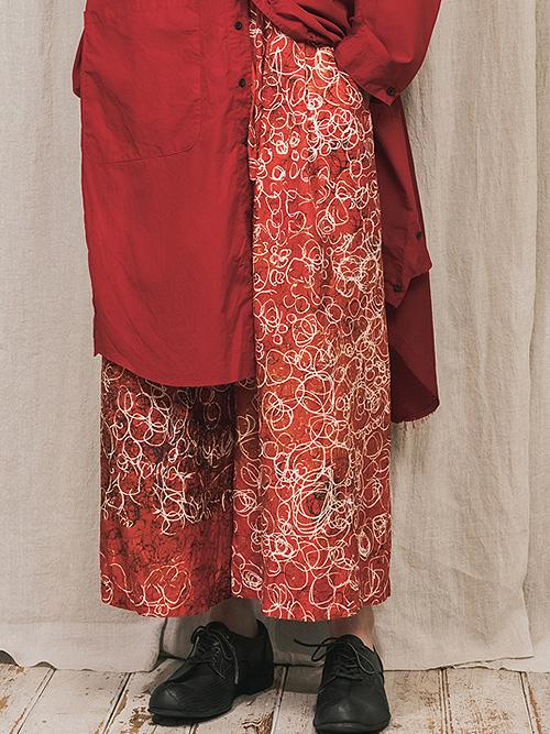 """(予約品)2〜3月入荷/nude:masahiko maruyama ・ヌード:マサヒコマルヤマ/DISTORTION3 """"HARUKA KITAMURA"""" INKJET PRINT SUPER WIDE LEG PANTS/Red"""