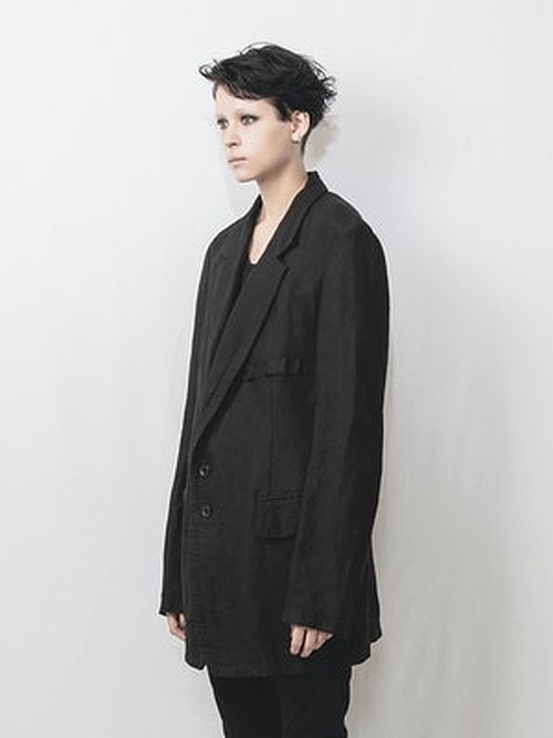 nude:masahiko maruyama ・ヌード:マサヒコマルヤマ/Japanese Paper Dobby Cloth 2 Buttons Jacket/BLK