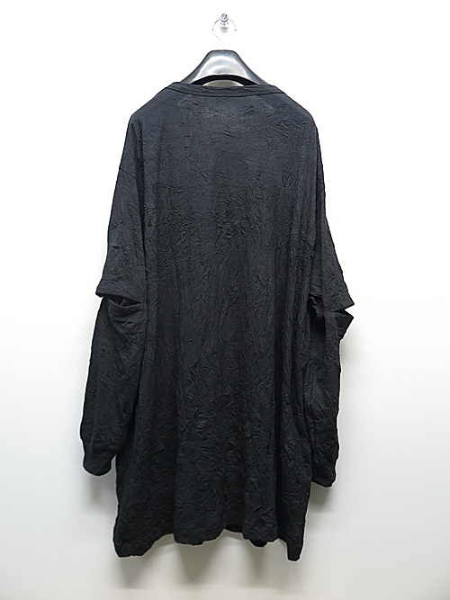 Ground Y・グラウンドワイ/C/Pe Washer Jersey Jumbo sleeve opene/BLK