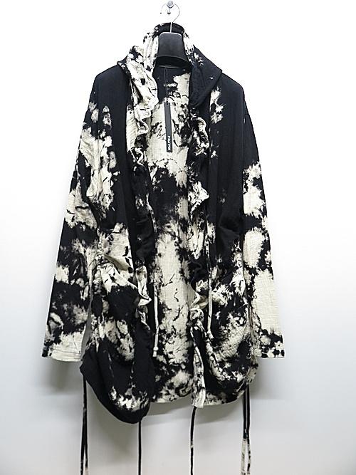 KMRii・ケムリ/Hooded Tie Dye Gauze CD / LS/BLK