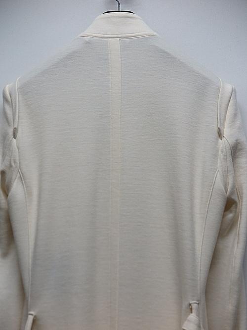 kiryuyrik・キリュウキリュウ/Shrink Wool Jersey NoCollar Flare Jacket/White