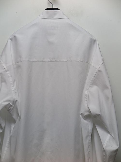 Yohji Yamamoto・ヨウジヤマモト/100/2ブロード M-胸切り替えスタンドブラウス・ホワイト.