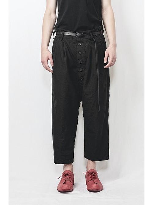 nude:masahiko maruyama ・ヌード:マサヒコマルヤマ/Supima Cotton / Linen Cloth 2 Tucks Cropped Sarouel Pants/BLK