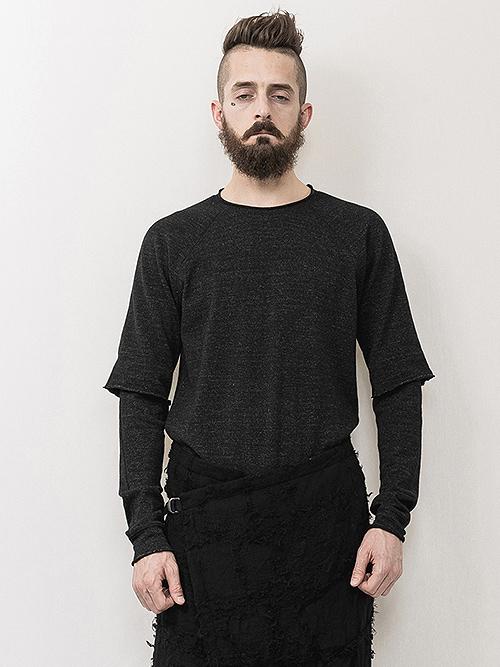 nude:masahiko maruyama ・ヌード:マサヒコマルヤマ/Layered Sleeve T shirt/Charcoal