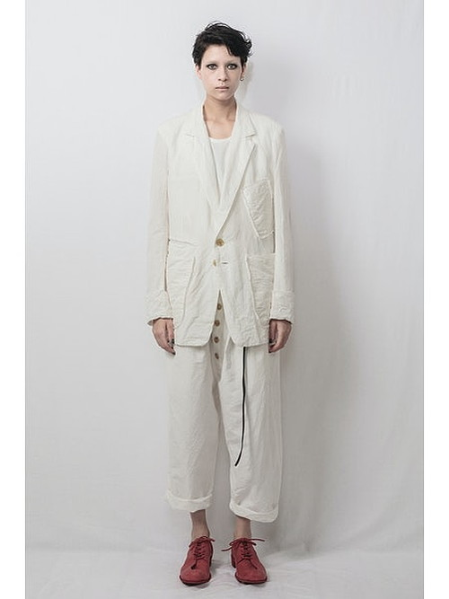 nude:masahiko maruyama ・ヌード:マサヒコマルヤマ/Supima Cotton / Linen Cloth 2 Tucks Cropped Sarouel Pants/WHT