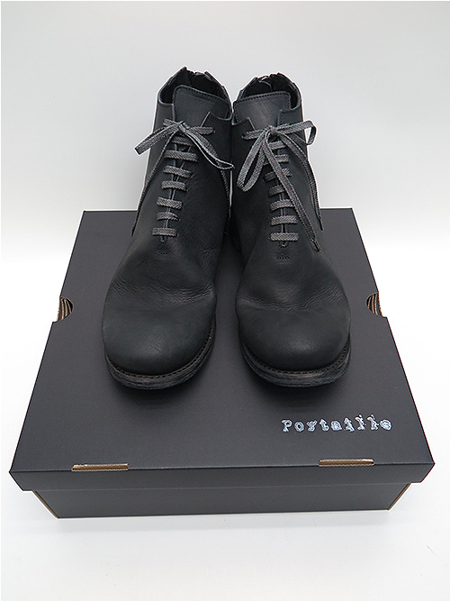 Portaille・ポルタユ/Filled steer Backzip balmoral boots/BLK