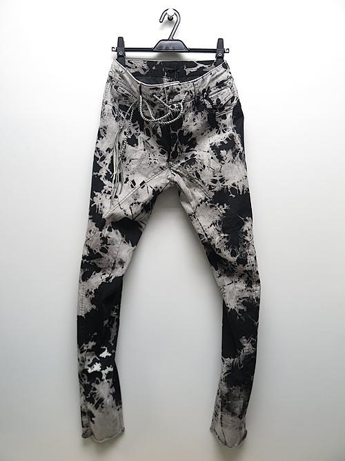 SALE30%OFF/KMRii・ケムリ/Cotton Spandex Tie Dye Stretch Twill Pants/BLACK.