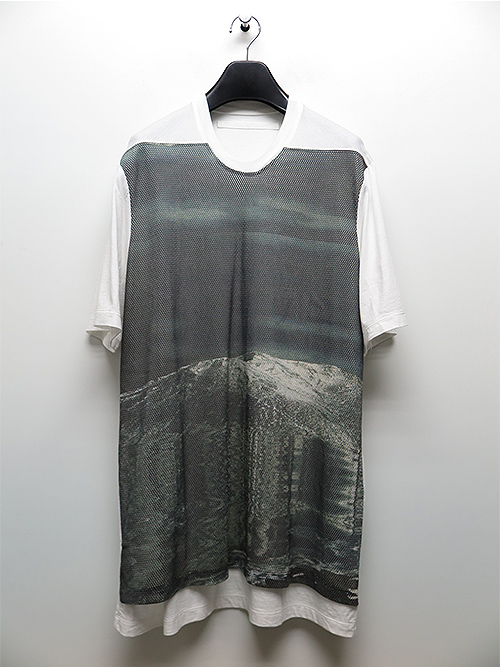 SALE40%OFF/JULIUS・ユリウス/COTTON RAYON JERSEY AVALANCHE MESH PRINT T-SHIRT/WHITE