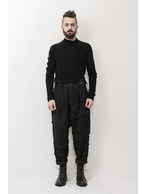 nude:masahiko maruyama ・ヌード:マサヒコマルヤマ/Patched Drop-Crotch 2 Tucks Pants/Charcoal