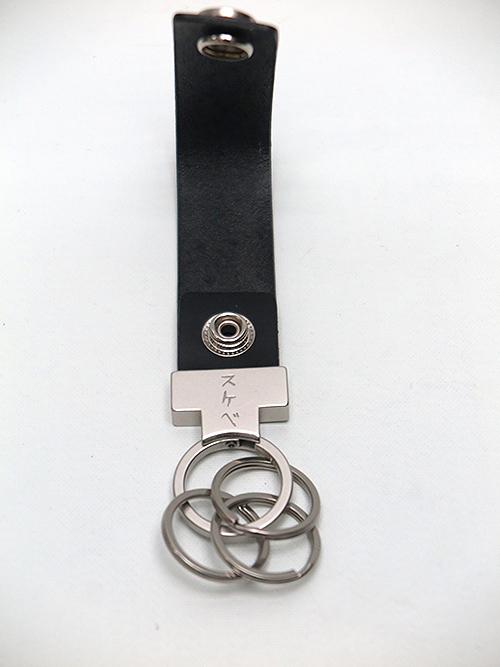 Yohji Yamamoto・ヨウジヤマモト/ヌメ/真鍮/鉄 メッセージキーリングA・ブラック