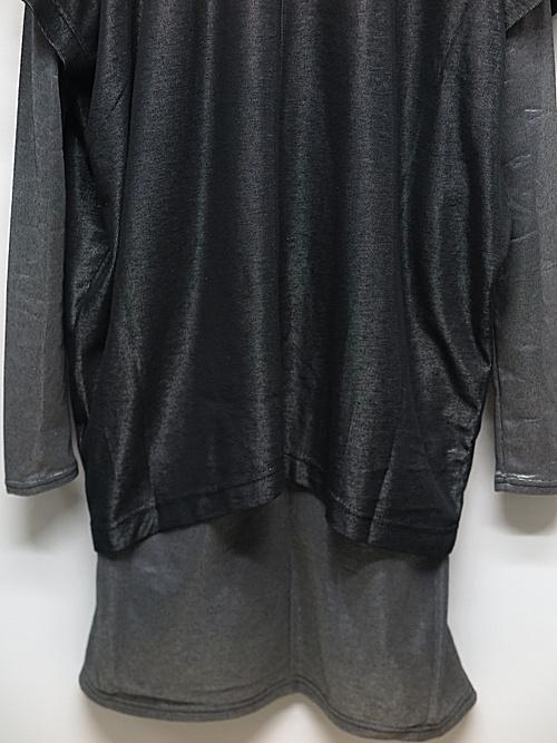 SALE40%OFF/nude:masahiko maruyama ・ヌード:マサヒコマルヤマ/Plating Rib Over Size Pullover w/Long Tshirt/BLKSLV