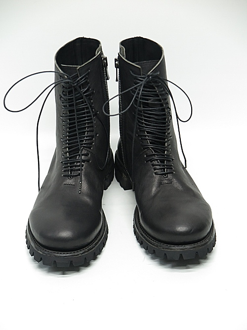 Portaille・ポルタユ/M22-VIB100 ladder laceup boots Soft tanned horse : Black