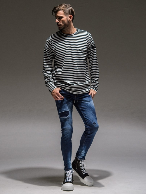 RESOUND CLOTHING・リサウンドクロージング/SP  LOOSE  TRAINER/BORDER