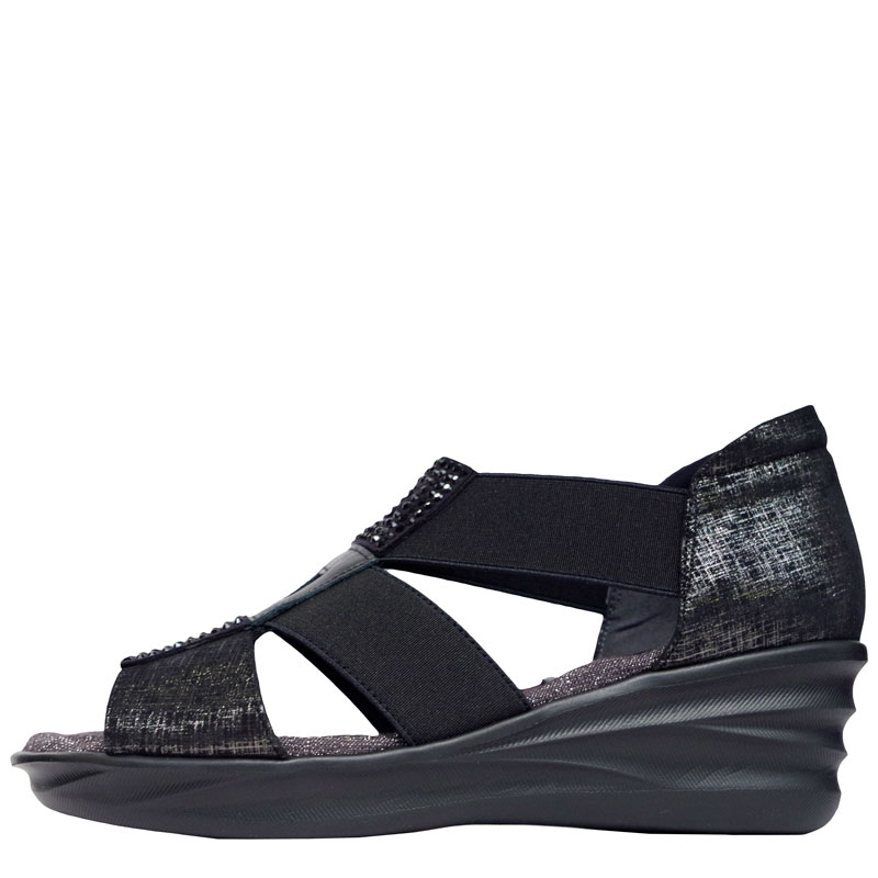 FIZZ REEN フィズリーン 6847 ブラック【会員登録で送料無料&ポイント10%!】 魅せるデザインと歩きやすく痛くならない信頼の日本製レディースシューズ・ブランド ゴムのベルトでラクラクのグラディエーターサンダルです