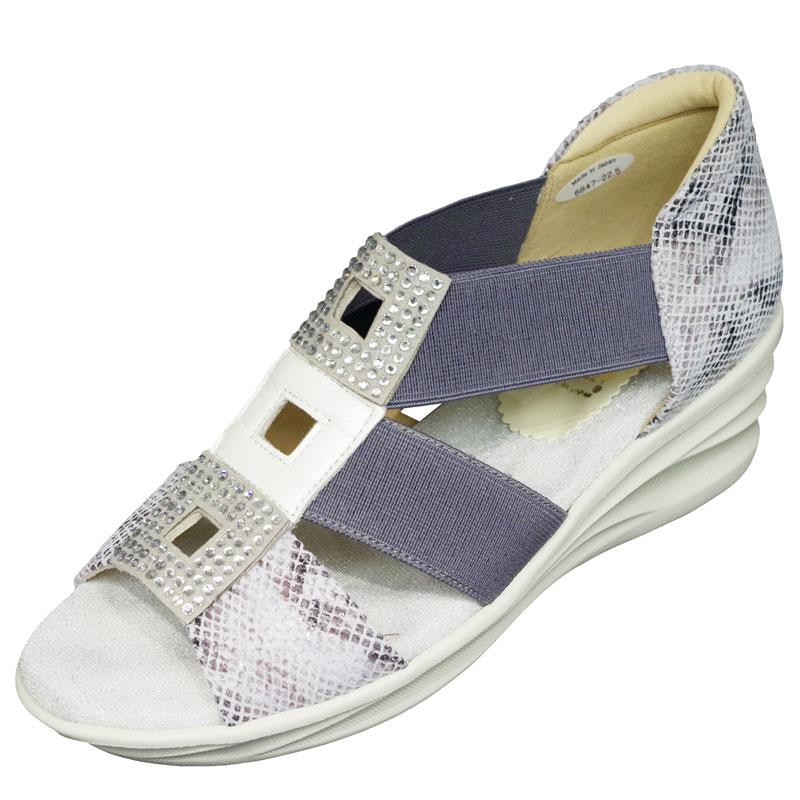 FIZZ REEN フィズリーン 6847 パイソン【会員登録で送料無料&ポイント10%!】 魅せるデザインと歩きやすく痛くならない信頼の日本製レディースシューズ・ブランド ゴムのベルトでラクラクのグラディエーターサンダルです