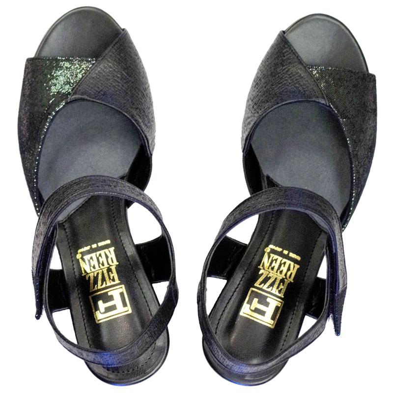 FIZZ REEN フィズリーン 6887 ブラック【会員登録で送料無料&ポイント10%!】魅せるデザインと歩きやすく痛くならない信頼の日本製レディースシューズ・ブランド 足首ベルトでスタビリティ効果!2トーンコンビのおしゃれサンダルです
