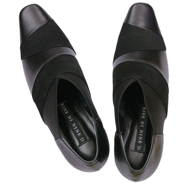 NINE DI NINE ナインディナイン 7805 ブラックコンビ【会員登録で送料交換無料&ポイント10%!】合わせやすさと履き心地の良さがコンセプトの日本製レディースシューズ・ブランド ゆったり幅のEEE ブーティ感覚のパンプスです