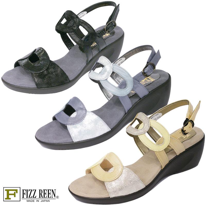 FIZZ REEN フィズリーン 5523 ブラック【会員登録で送料無料&ポイント10%!】 魅せるデザインと歩きやすく痛くならない信頼の日本製レディースシューズ・ブランド クッションが心地よいウェッジソールサンダルです