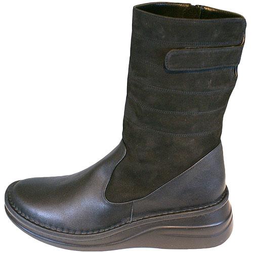 《Put's プッツ》83469 ブラック【会員登録で送料無料&ポイント10%!】 足に吸いつくようなはきごこち! 外反母趾にやさしいゆったり幅のEEE ヌバック革とのコンビのおとなナチュラルスタイルのブーツです