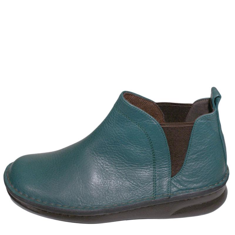 《Put's プッツ》8565 グリーン【会員登録で送料無料&ポイント10%!】足に吸いつくようなはきごこち! 外反母趾にやさしいゆったり幅のEEE おとなのためのナチュラルスタイルショートブーツです