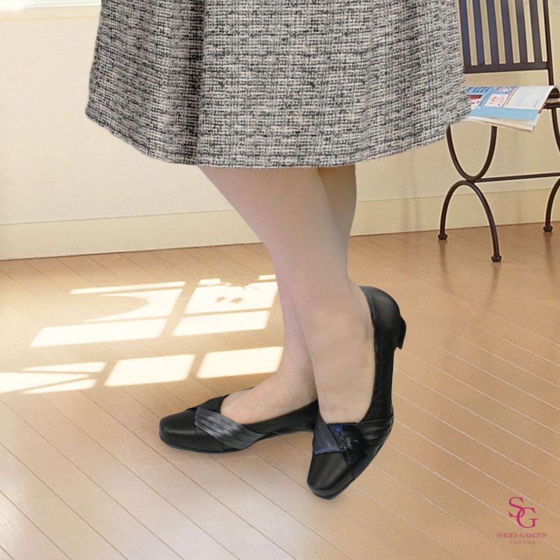 FIZZ REEN フィズリーン 5845 ブラック【会員登録で送料交換無料&ポイント10%!】 魅せるデザインと歩きやすく痛くならない信頼の日本製レディースシューズ・ブランド ミドルローヒールのエレガントパンプス