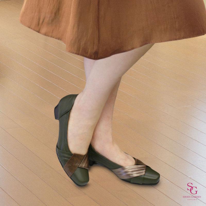 FIZZ REEN フィズリーン 5845 カーキ【会員登録で送料交換無料&ポイント10%!】 魅せるデザインと歩きやすく痛くならない信頼の日本製レディースシューズ・ブランド ミドルローヒールのエレガントパンプス