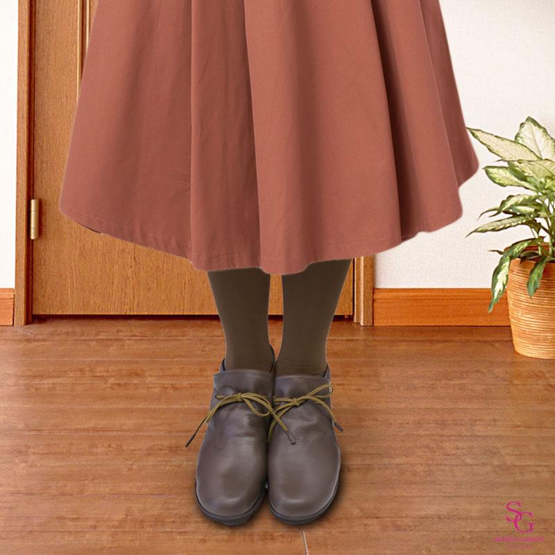 FIZZ REEN フィズリーン 2221 ダークオーク【会員登録で送料交換無料&ポイント10%!】 魅せるデザインと歩きやすく痛くならない信頼の日本製レディースシューズ・ブランド ボトムを選ばずふだん使いから履ける ソフトレザーのぺたんこブーティです