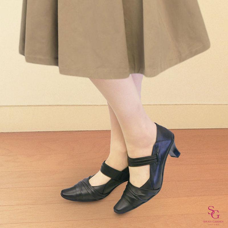 <好評再入荷!>FIZZ REEN フィズリーン 6827 ブラック 【会員登録で送料無料&ポイント10%!】魅せるデザインと歩きやすく痛くならない信頼の日本製レディースシューズ・ブランド ストラップ付きソフトパンプスです
