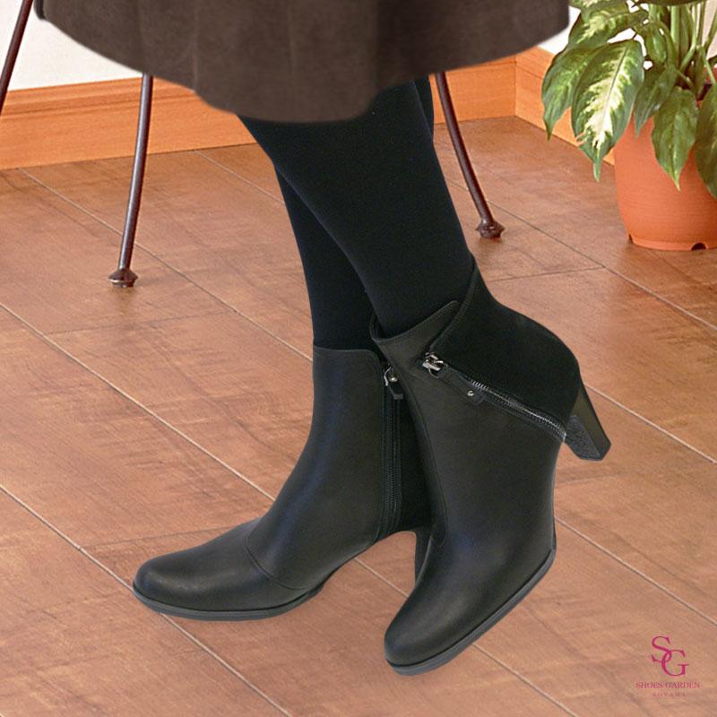 FIZZ REEN フィズリーン 7705 ブラック【会員登録で送料無料&ポイント10%!】 魅せるデザインと歩きやすく痛くならない信頼の日本製レディースシューズ・ブランド 大胆なファスナーが目を惹きつけます!おしゃれなショートブーツです