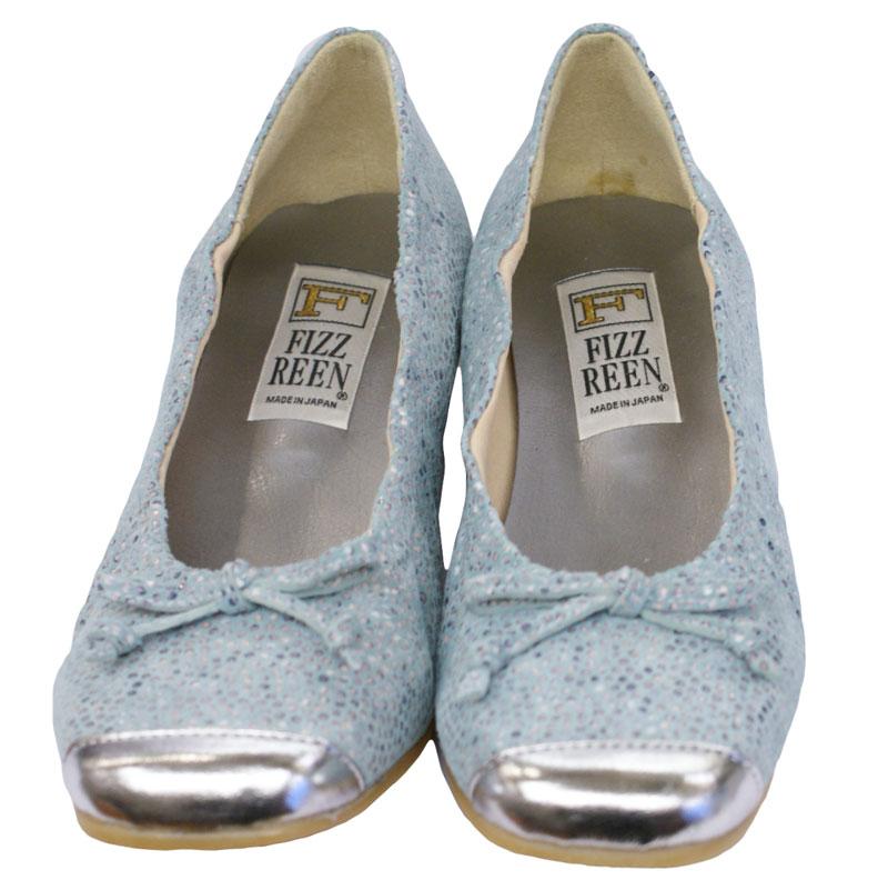 《FIZZ REEN フィズリーン》390 ライトブルー【会員登録で送料無料&ポイント10%!】 魅せるデザインと歩きやすく痛くならない信頼の日本製レディースシューズ・ブランド ゆったり幅のEEE フェミニンさがすてきなバレリーナシューズです
