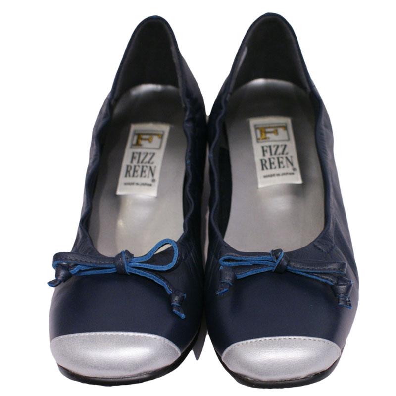 《FIZZ REEN フィズリーン》390 ネイビー【会員登録で送料無料&ポイント10%!】 魅せるデザインと歩きやすく痛くならない信頼の日本製レディースシューズ・ブランド ゆったり幅のEEE フェミニンさがすてきなバレリーナシューズです
