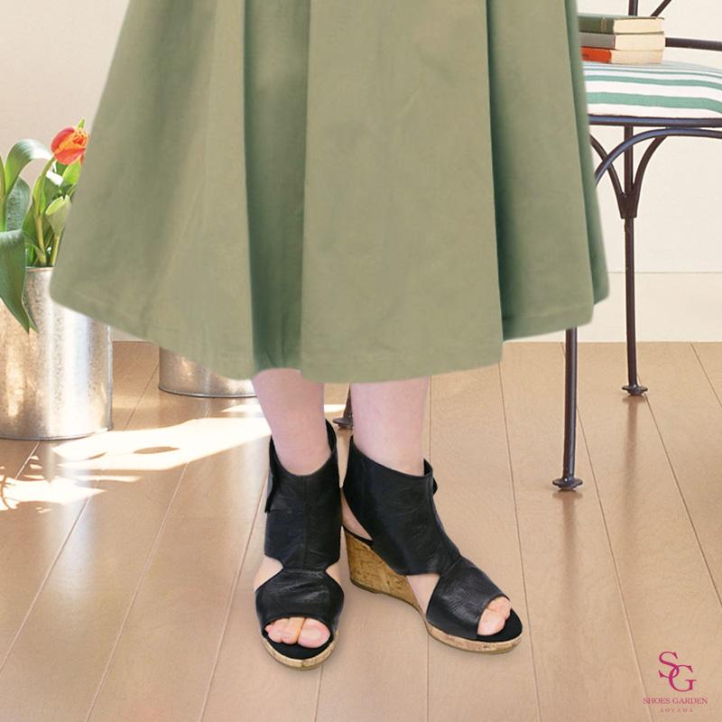 《FIZZ REEN フィズリーン》6800 ブラック【会員登録で送料交換無料&ポイント10%!】 魅せるデザインと歩きやすく痛くならない信頼の日本製レディースシューズ・ブランド おしゃれな厚底サマーブーツです