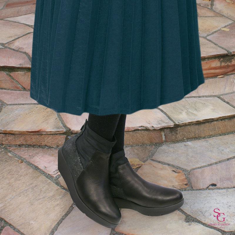 FIZZ REEN フィズリーン 2136 インディゴ【会員登録で送料無料&ポイント10%!】 魅せるデザインと歩きやすく痛くならない信頼の日本製レディースシューズ・ブランドおしゃれなバイカラーのショートブーツ