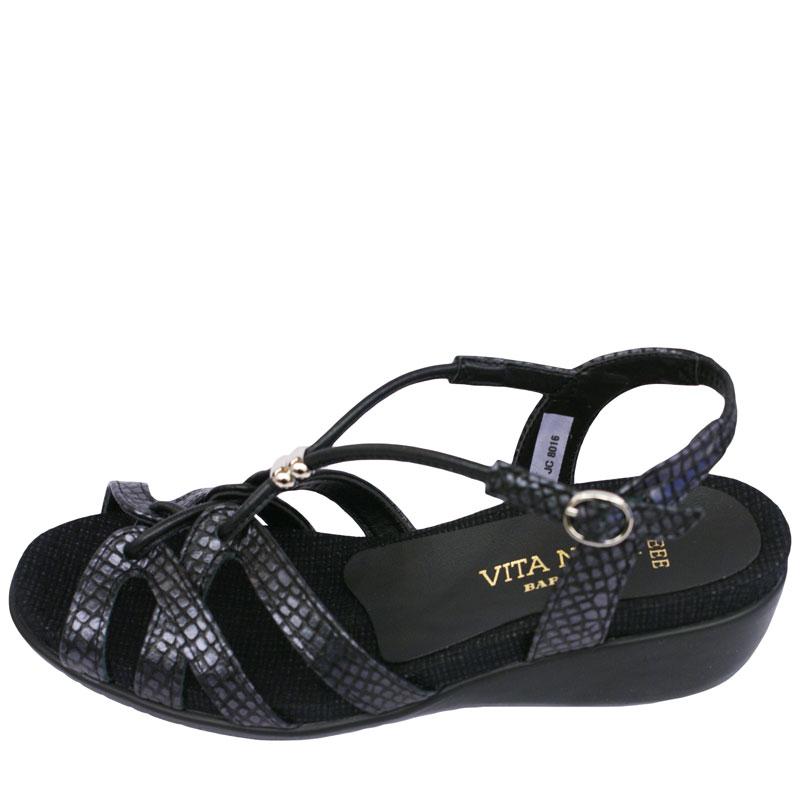 《VITA NOVA ヴィタノーバ》 8016 黒ヘビ 【会員登録で送料無料&ポイント10%!】 新しいライフスタイルを提案するレディースシューズ・ブランド ゆったり幅のEEE リゾートサンダルです