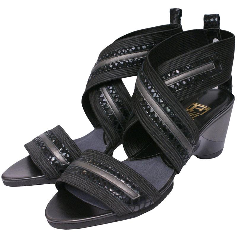 FIZZ REEN フィズリーン 8685 ブラック【会員登録で送料無料&ポイント10%!】 魅せるデザインと歩きやすく痛くならない信頼の日本製レディースシューズ・ブランド ベルトづかいが斬新で履きやすいおしゃれサンダルです