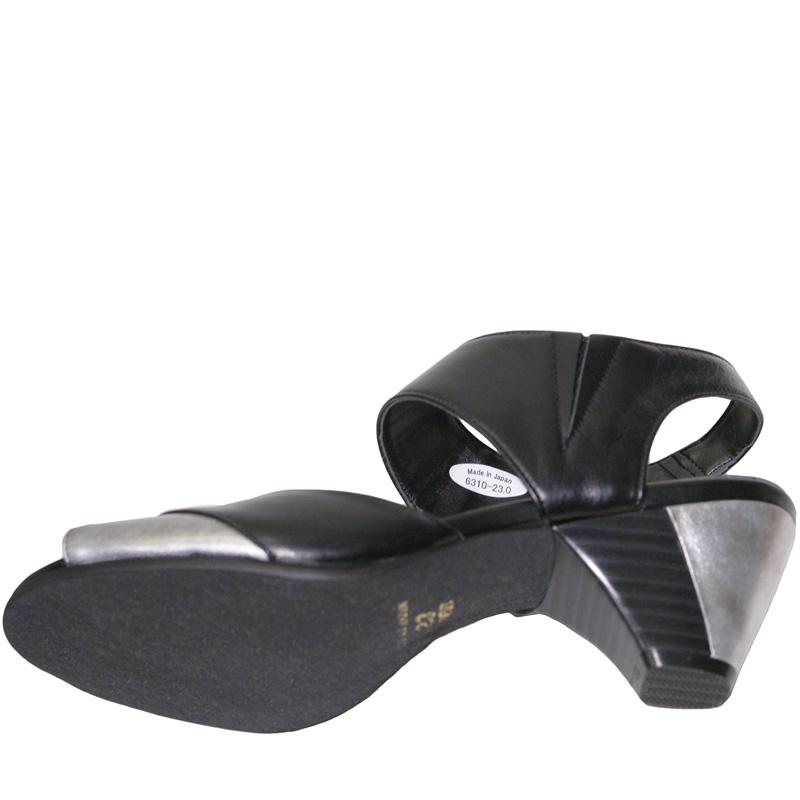 FIZZ REEN フィズリーン 6310 ブラック【会員登録で送料無料&ポイント10%!】魅せるデザインと歩きやすく痛くならない信頼の日本製レディースシューズ・ブランド 足首ベルトでスタビリティ効果!2トーンコンビのおしゃれサンダルです