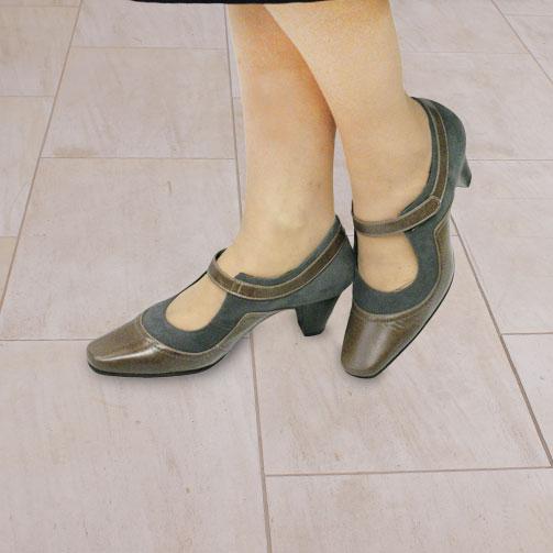 FIZZ REEN フィズリーン 1538 チャコール 【会員登録で送料無料&ポイント10%!】 魅せるデザインと歩きやすく痛くならない信頼の日本製レディースシューズ・ブランド ゆったり幅のEEE レトロモダンなパンプスです