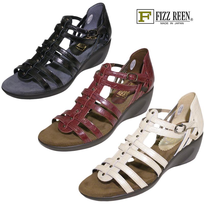 FIZZ REEN フィズリーン 5519 ブラック【会員登録で送料無料&ポイント10%!】 魅せるデザインと歩きやすく痛くならない信頼の日本製レディースシューズ・ブランド クッションが心地よいアーバングラディエーターサンダルです