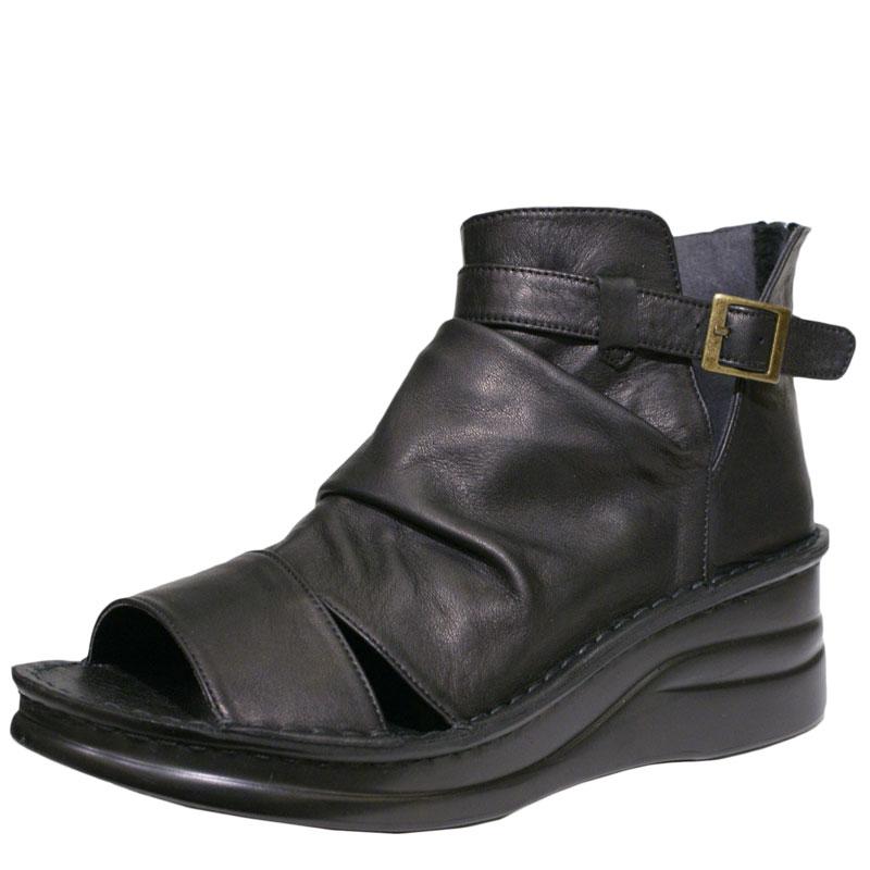 《Put's プッツ》4117 ブラック【会員登録で送料無料&ポイント10%!】 足に吸いつくようなはきごこち! 外反母趾にやさしいゆったり幅のEEE ラウンドトゥのナチュラルスタイルのサマーブーツです