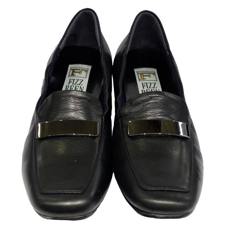 《FIZZ REEN フィズリーン》339 ブラック【会員登録で送料無料&ポイント10%!】 魅せるデザインと歩きやすく痛くならない信頼の日本製レディースシューズ・ブランド ゆったり幅のEEE 低いのにクッションが効いて心地よいビット付きシューズです