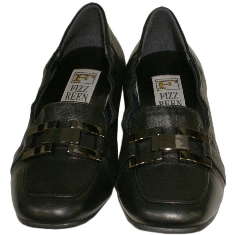 《FIZZ REEN フィズリーン》337 ブラック【会員登録で送料無料&ポイント10%!】 魅せるデザインと歩きやすく痛くならない信頼の日本製レディースシューズ・ブランド ゆったり幅のEEE 低いのにクッションが効いて心地よいビット付きシューズです