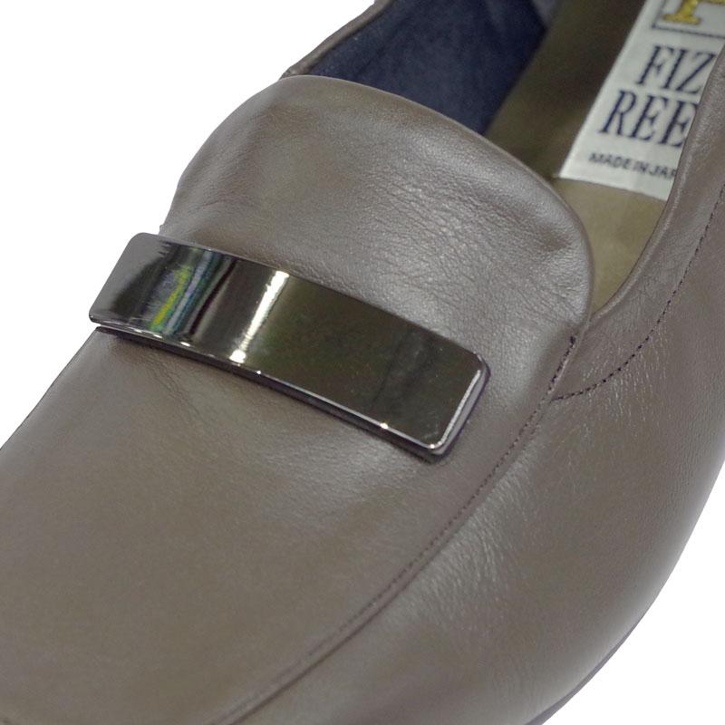 《FIZZ REEN フィズリーン》339 チャコール【会員登録で送料無料&ポイント10%!】 魅せるデザインと歩きやすく痛くならない信頼の日本製レディースシューズ・ブランド ゆったり幅のEEE 低いのにクッションが効いて心地よいビット付きシューズです