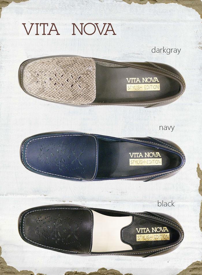 《VITA NOVA ヴィタノーバ》 9938・9958 ブラック 【会員登録で送料無料&ポイント10%!】 新しいライフスタイルを提案するレディースシューズ・ブランド ゆったり幅のEEE 甲のパンチングがかわいいローファーです