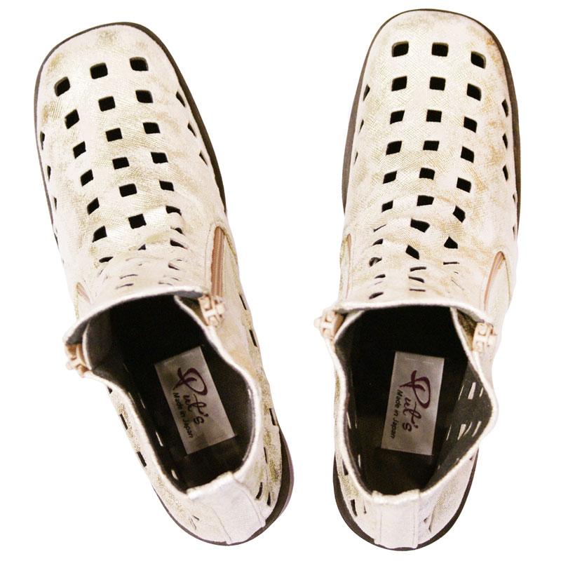 <厚底☆サマーブーツ>Put's プッツ 10606 ゴールド【会員登録で送料無料&ポイント10%!】 Put'sは足もとと人を美しくするレディースシューズ・ブランド ゆったり幅のEEE