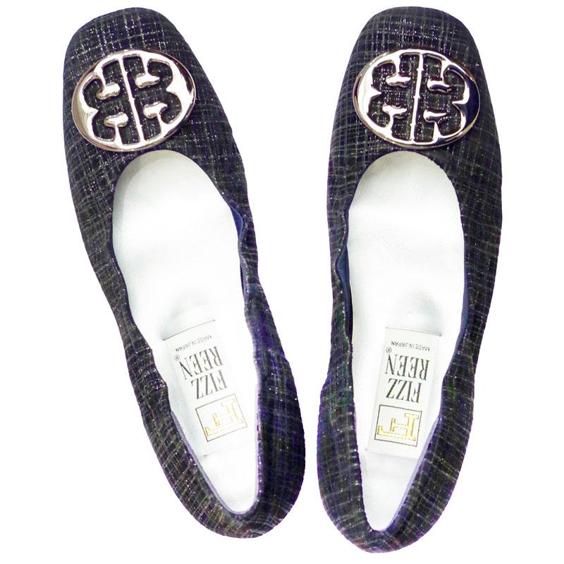 《FIZZ REEN フィズリーン》 300 黒チェック【会員登録で送料無料&ポイント10%!】 魅せるデザインと歩きやすく痛くならない信頼の日本製レディースシューズ・ブランド ゆったり幅のEEE メタルがポイントの大人気バレエ フラットシューズです